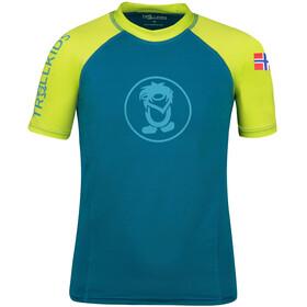 TROLLKIDS Kvalvika T-Shirt Kids, Bleu pétrole/jaune
